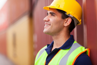 male worker smiling